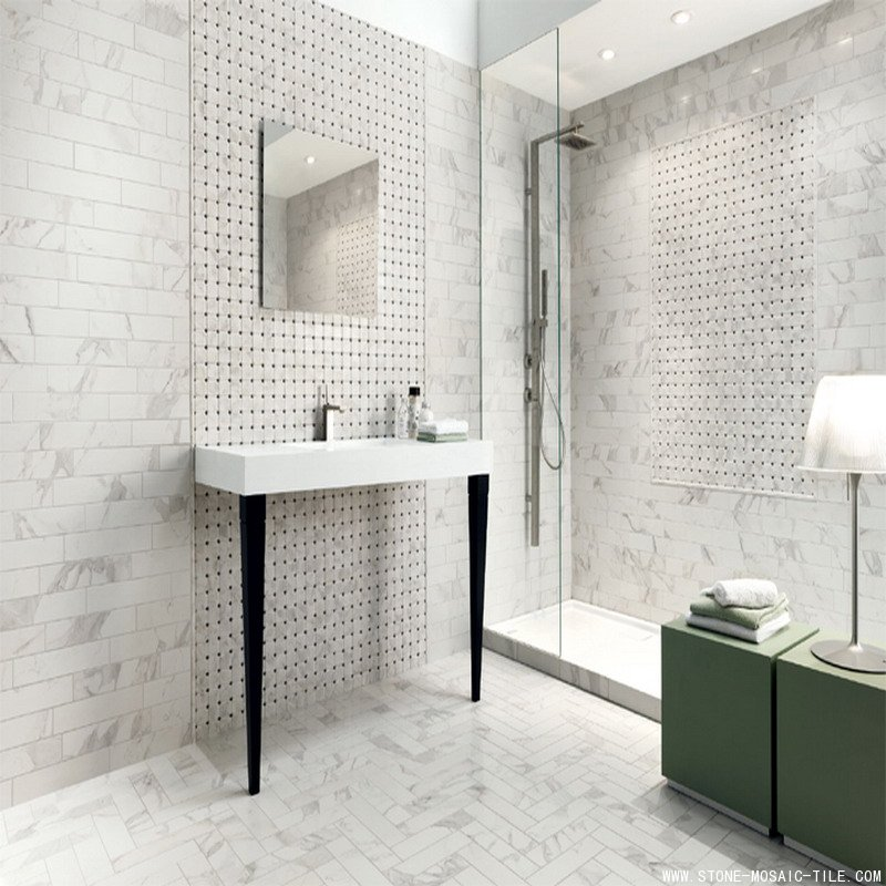 White Marble Bathroom Tile: Carrara White Lantern Shape Marble Mosaic Tile_EASTWOOD