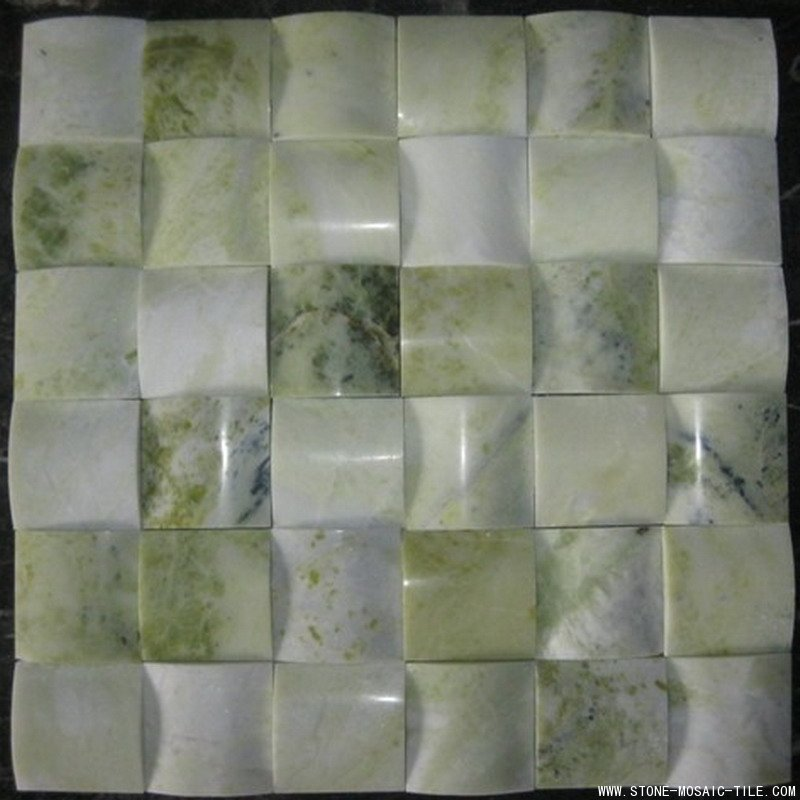 Green Onyx Marble Tile : Green onyx mosaic with big concave design eastwood