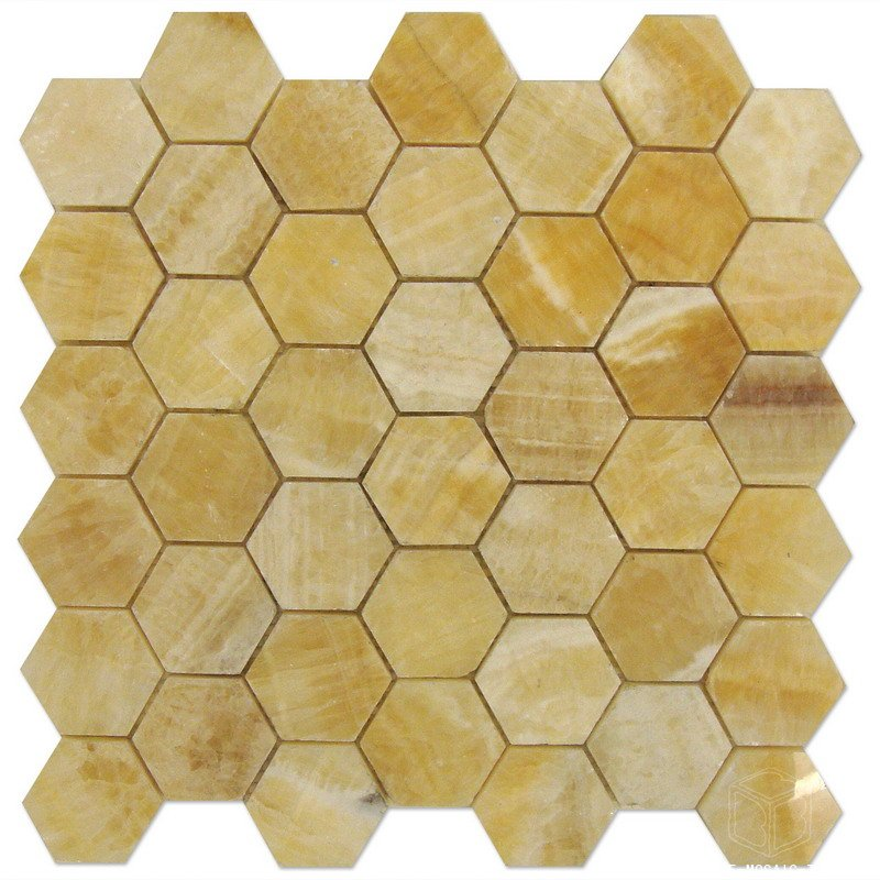 Hexagon Honey Onyx Mosaic Tile