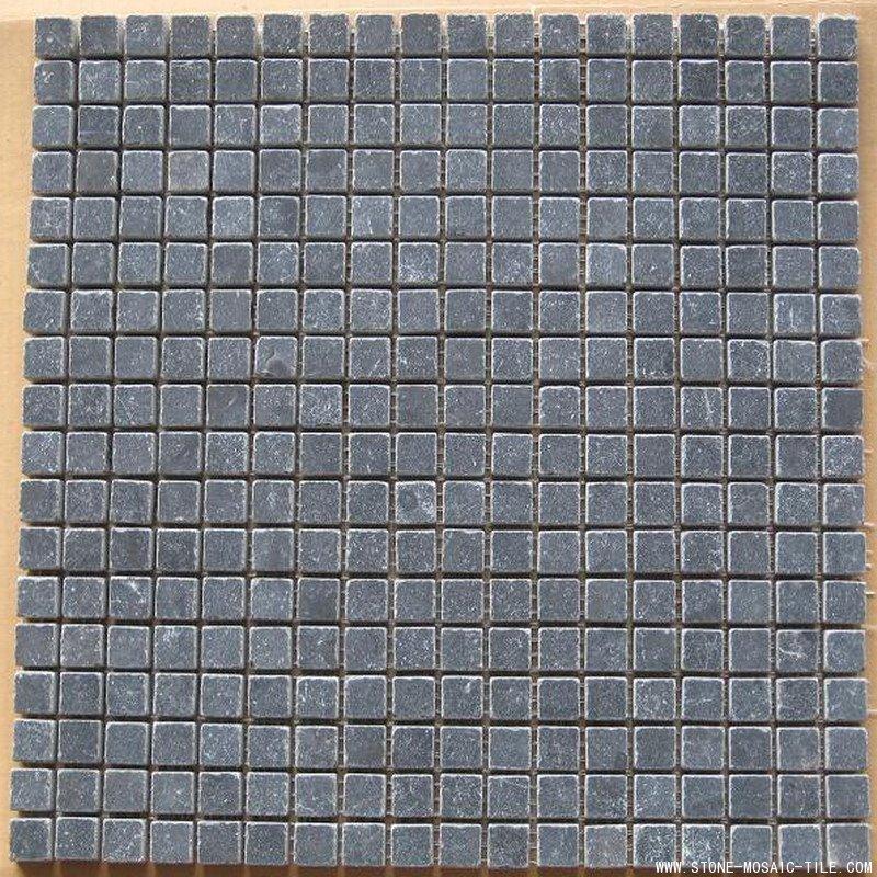 Honed Tumbled Black Granite Mosaic Tile